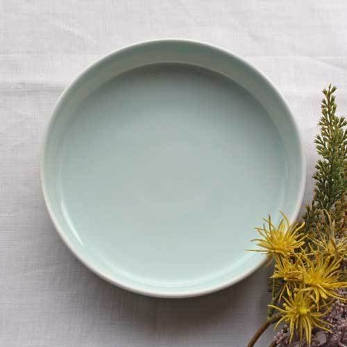 どら鉢 18cm 中鉢 浅鉢 青磁 水色 丸皿  涼やか かわいい 1点のみ cayest