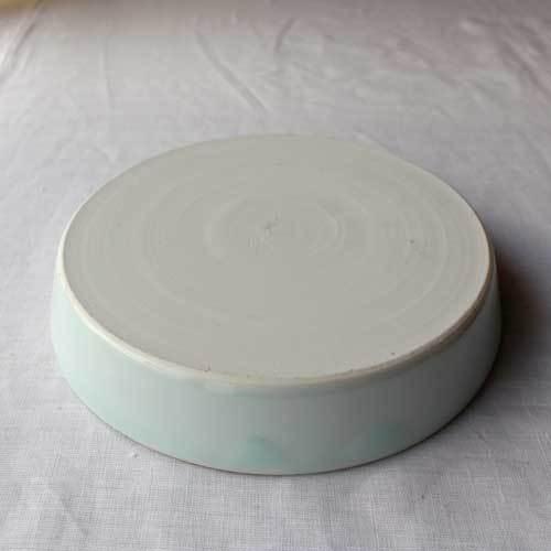 どら鉢 18cm 中鉢 浅鉢 青磁 水色 丸皿  涼やか かわいい 1点のみ cayest 04