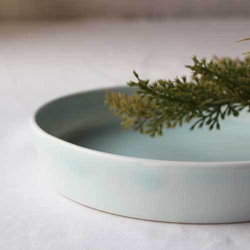 どら鉢 18cm 中鉢 浅鉢 青磁 水色 丸皿  涼やか かわいい 1点のみ cayest 05