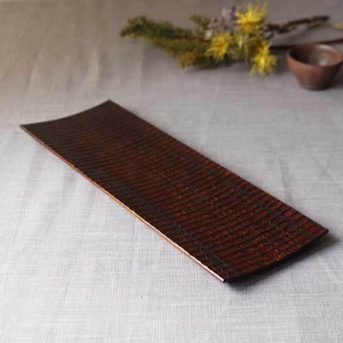 漆器 拭漆長皿 鎬 シノギ 欅 30cm 甲斐幸太郎 木製食器 伝統工芸 1点のみ|cayest