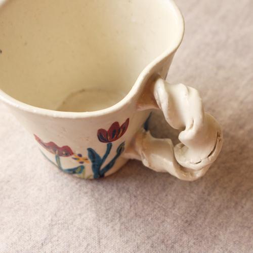 マグカップ 野花柄 ねじねじ取っ手 コーヒーカップ 180cc 廣川みのり 陶器 かわいい|cayest|02