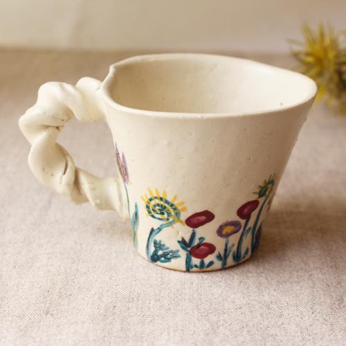 マグカップ 野花柄 ねじねじ取っ手 コーヒーカップ 180cc 廣川みのり 陶器 かわいい|cayest|03