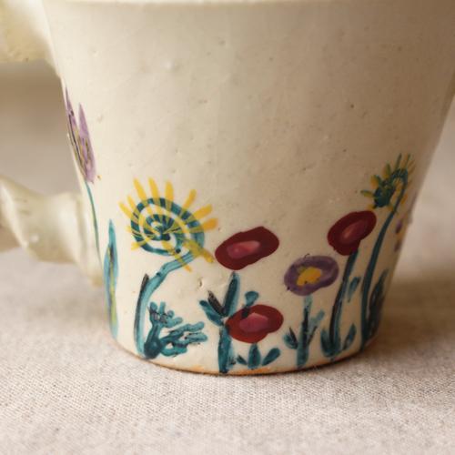 マグカップ 野花柄 ねじねじ取っ手 コーヒーカップ 180cc 廣川みのり 陶器 かわいい|cayest|04