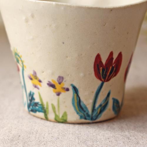 マグカップ 野花柄 ねじねじ取っ手 コーヒーカップ 180cc 廣川みのり 陶器 かわいい|cayest|05