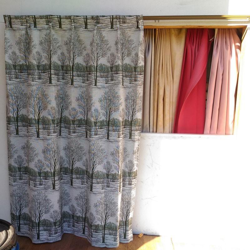 木立柄・ウッディ 巾100cm×丈178cm 2枚組 日本製ジャガード織りカーテン ccnet 04