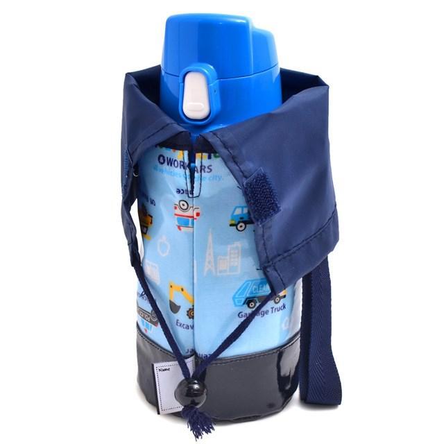 水筒カバー スモールタイプ アクセル全開はたらく車(ライトブルー) (ショルダー 子供 肩掛け 水筒ケース ボトルカバー 水筒ケース 水筒入れ)|ccstyle