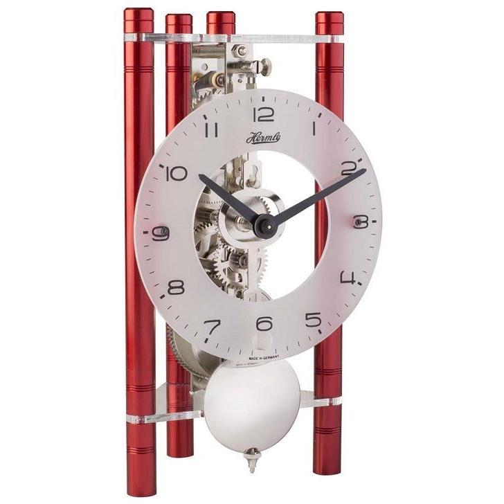 モダンなムーブメントが見えるスケルトンデザイン!ヘルムレ HERMLE 置き時計  機械式テーブルクロック レッド 23025-360721