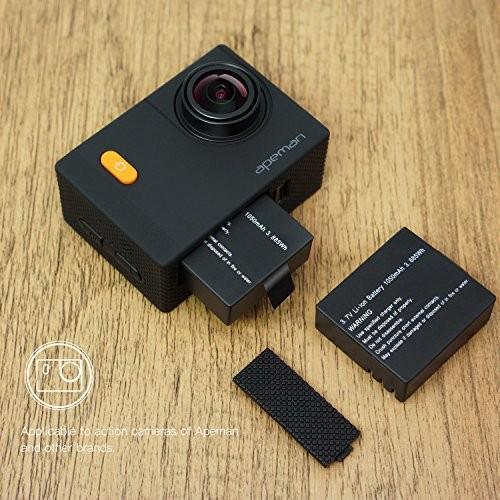 APEMAN アクションカメラ 専用互換バッテリー 1350mAh充電式バッテリー2個 急速デュアル充電器 miniUSBケーブル|cecilia|05