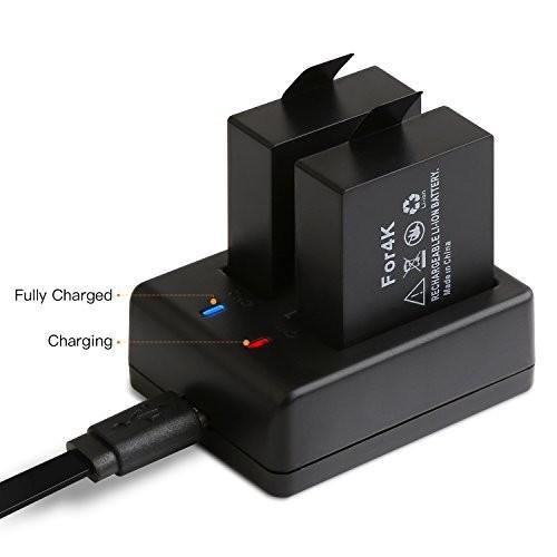 APEMAN アクションカメラ 専用互換バッテリー 1350mAh充電式バッテリー2個 急速デュアル充電器 miniUSBケーブル|cecilia|06