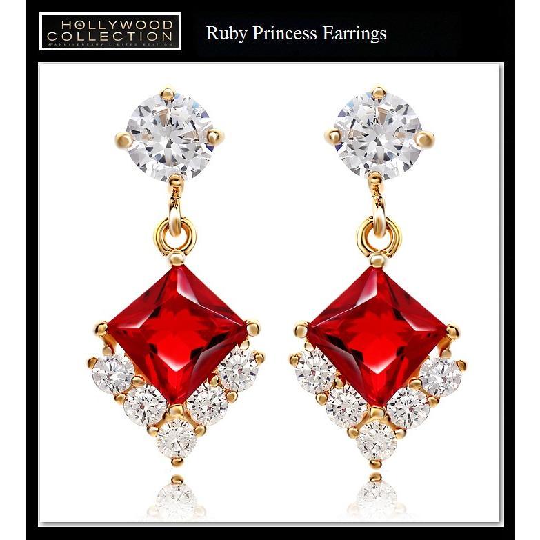 ピアス 揺れる ルビー レッド 18金 18KGP プリンセス アンジェリーナ ジョリー コレクション|celeb-cz-jewelry|03