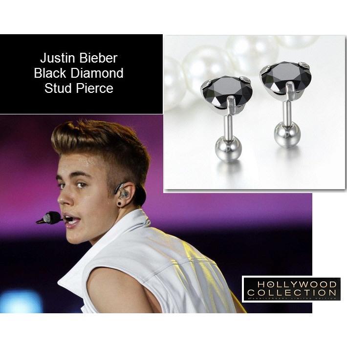 メンズ ピアス ブラックダイヤモンド 黒ダイヤ スタッド 両耳 ジャスティン ビーバー コレクション|celeb-cz-jewelry|02