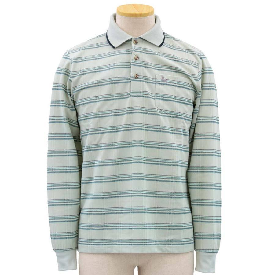 シニア 紳士 長袖 撚杢 格子 ポロシャツ シニアファッション 70代 80代 90代 春夏 center-urashima