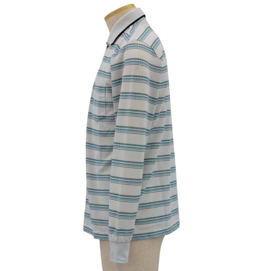シニア 紳士 長袖 撚杢 格子 ポロシャツ シニアファッション 70代 80代 90代 春夏 center-urashima 02