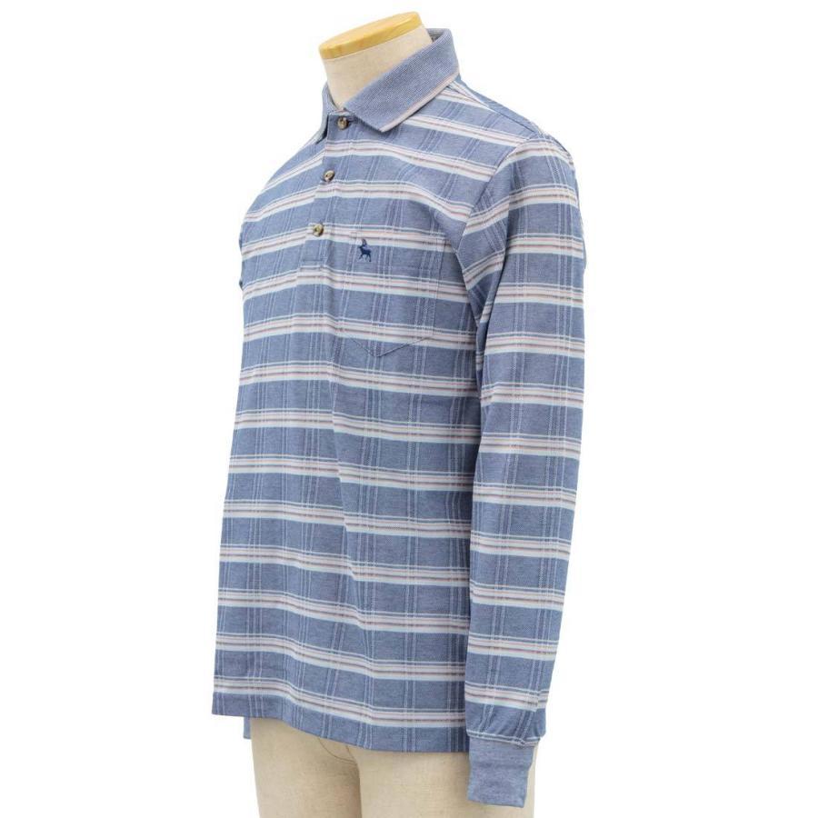 シニア 紳士 長袖 撚杢 格子 ポロシャツ シニアファッション 70代 80代 90代 春夏 center-urashima 03
