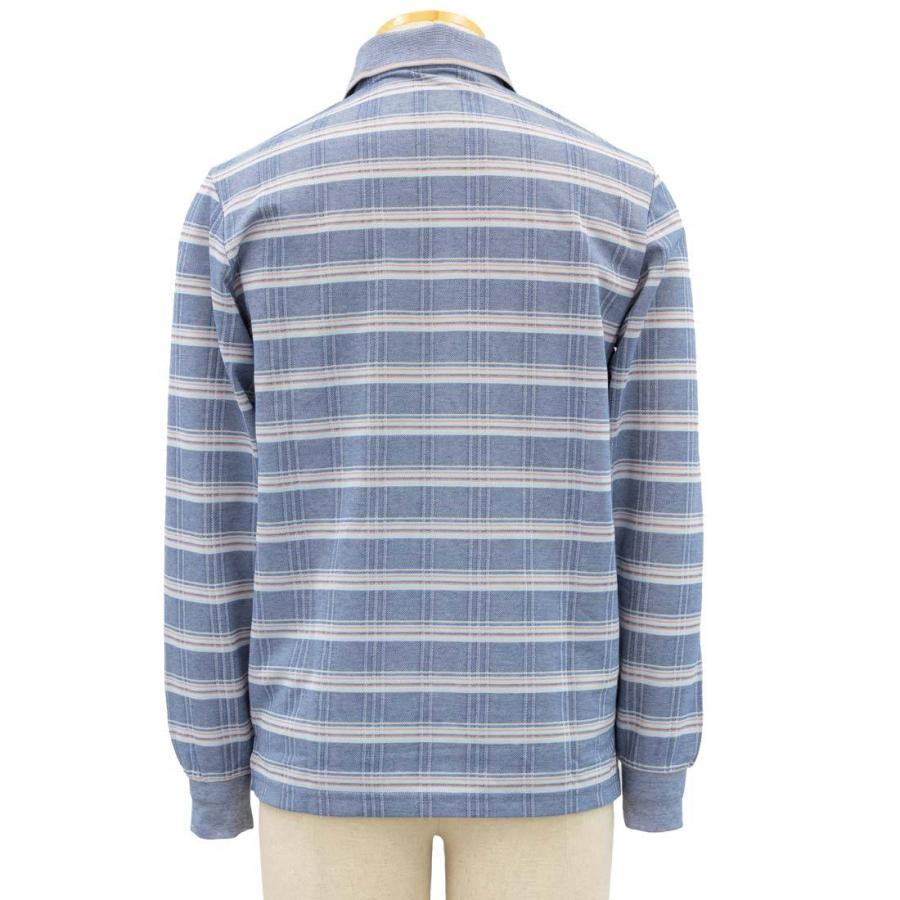 シニア 紳士 長袖 撚杢 格子 ポロシャツ シニアファッション 70代 80代 90代 春夏 center-urashima 04