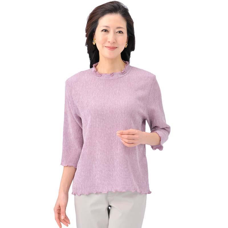 シニアファッション レディース 70代 80代 90代 テンセル混メロウ襟 7分袖カットソー(服 衣料 高齢者 婦人 女性 レディース) 母の日 敬老の日 介護|center-urashima|05