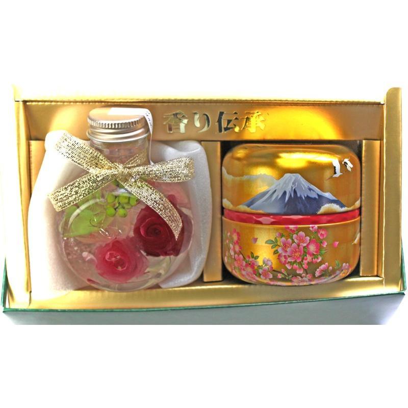 ハーバリウムと 深蒸し茶ギフト お誕生日 記念日 お祝い お茶 ドライフラワー ブリザーブドフラワー 日本茶 贈り物 ギフトセット 静岡茶 女性 母 プレゼント chabatakechokusoubin 05