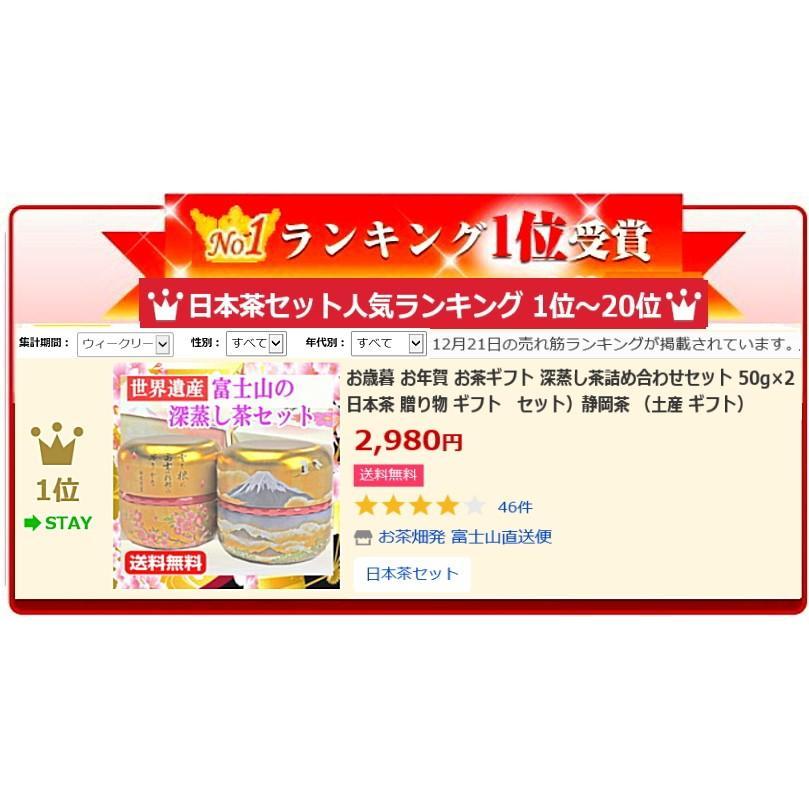 お歳暮 お茶ギフト 深蒸し茶詰め合わせセット 50g×2 日本茶 贈り物 ギフトセット 静岡茶 chabatakechokusoubin 02