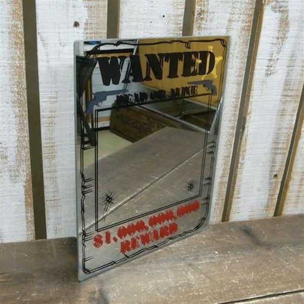公式ストア WANTED パブミラー インテリアミラー 鏡 永遠の定番モデル ミラー ガレージ雑貨 アメリカン雑貨 アメリカ雑貨