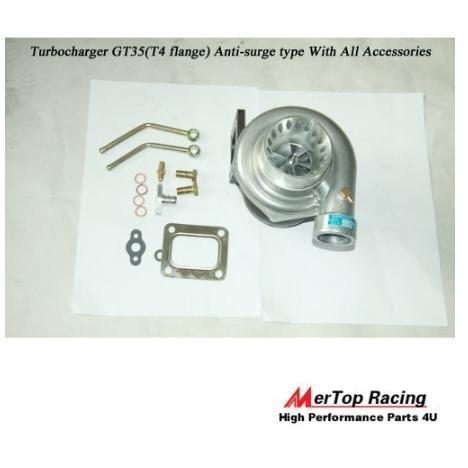 ターボチャージャー T4GT35ターボチャージャーアンチオーバーチャージ500+ HP 0.68 AR +オイルマウントドレイン