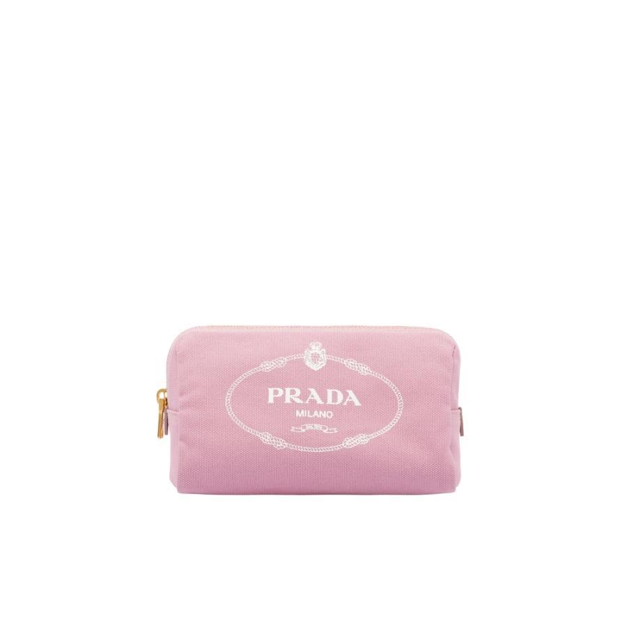プラダ PRADA バッグ バック 化粧ポーチ コスメポーチ ポーチ ピンク ホワイト ストライプ コットン