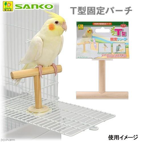 三晃商会 SANKO 新色追加 T型固定パーチ 小鳥用 小鳥 固定式パーチ 日本産 木製 止まり木