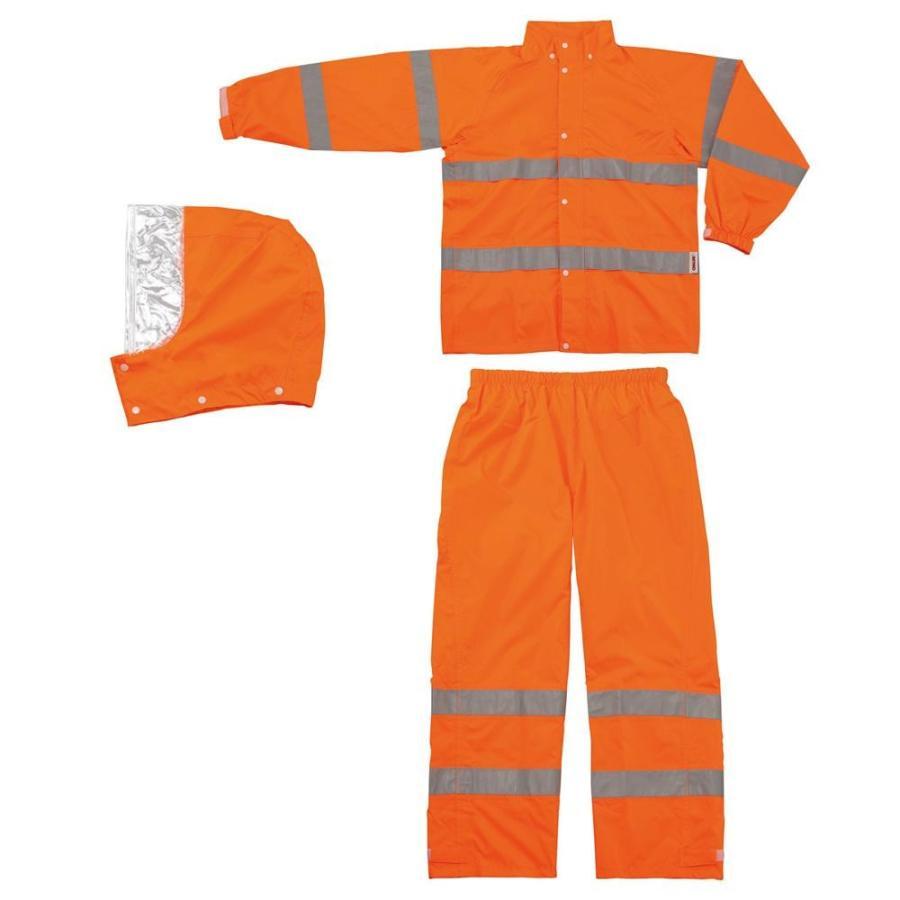 スミクラ レインウェア 高視認型レインスーツ A-611 蛍光オレンジ 4L