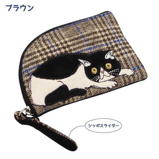 [メール便対応] モーリーフラットポーチ(ノアファミリー 猫グッズ ネコ雑貨 ポーチ ねこ柄) 051-A810|chatty-cloth|02