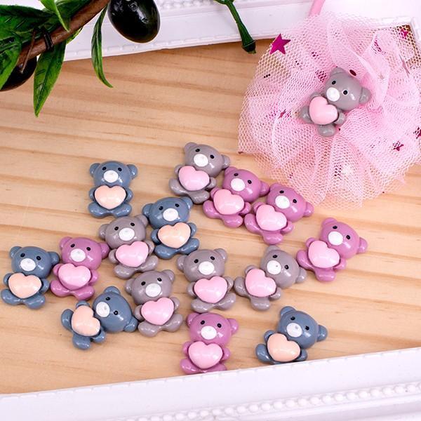 在庫処分 ハートくまちゃんのアクリルパーツ デコ 4個 ハンドメイド パーツ 手芸材料 メーカー在庫限り品 上等 pt-587 素材
