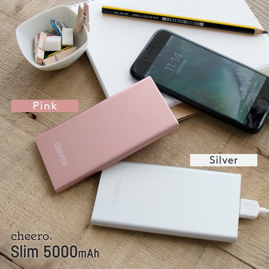 モバイルバッテリー iPhone / iPad / Android コンパクト 超薄型 薄い おしゃれ チーロ cheero Slim 5000mAh 急速充電 対応 PSEマーク付 cheeromart 09