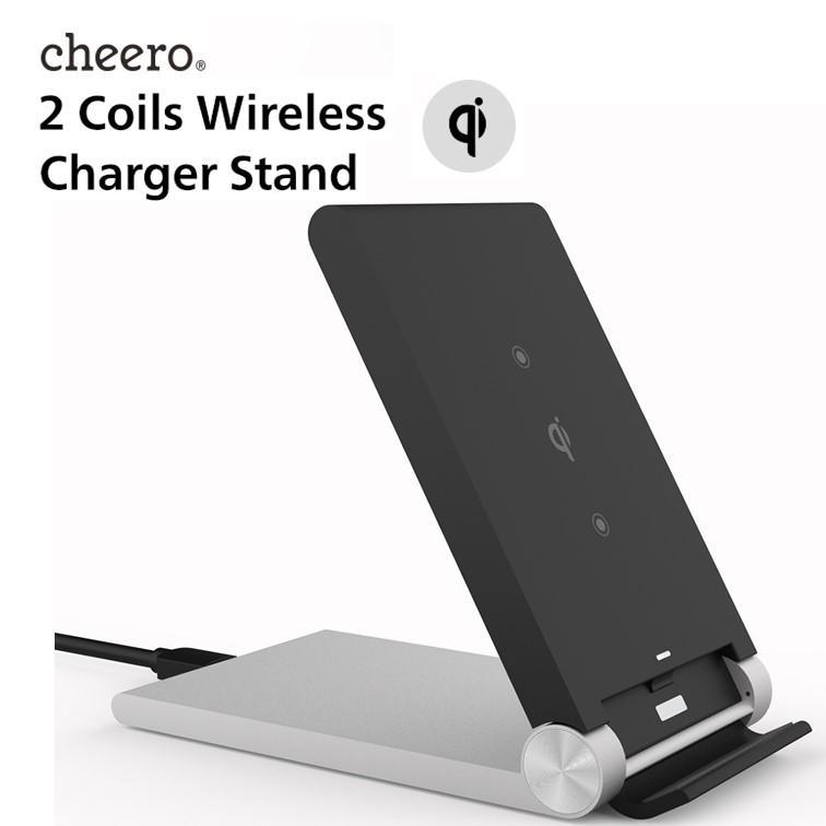 スマホ ワイヤレス 充電スタンド 折り畳み式 置くだけ簡単充電 cheero 2 Coils Wireless Charger Stand 充電器 iPhone / Galaxy / Xperia / Android cheeromart