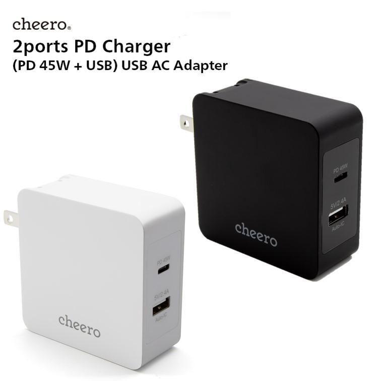 USB 充電器 タイプC タイプA 2ポート アダプタ パワーデリバリー 45W 合計 出 力 57W チーロ cheero 2 port PD Charger 小型 高速充電 折り畳み式プラグ|cheeromart