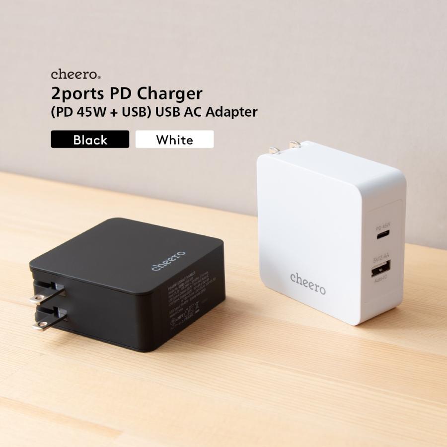 USB 充電器 タイプC タイプA 2ポート アダプタ パワーデリバリー 45W 合計 出 力 57W チーロ cheero 2 port PD Charger 小型 高速充電 折り畳み式プラグ|cheeromart|06