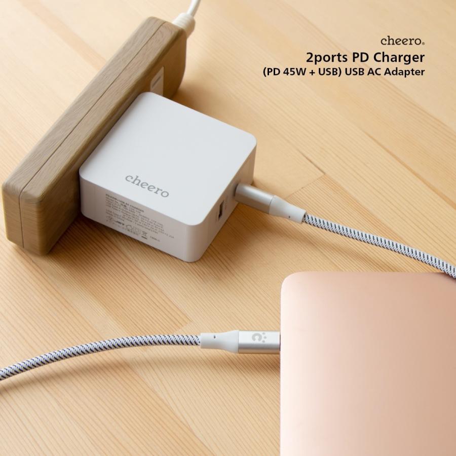 USB 充電器 タイプC タイプA 2ポート アダプタ パワーデリバリー 45W 合計 出 力 57W チーロ cheero 2 port PD Charger 小型 高速充電 折り畳み式プラグ|cheeromart|07