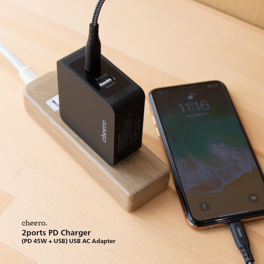 USB 充電器 タイプC タイプA 2ポート アダプタ パワーデリバリー 45W 合計 出 力 57W チーロ cheero 2 port PD Charger 小型 高速充電 折り畳み式プラグ|cheeromart|08