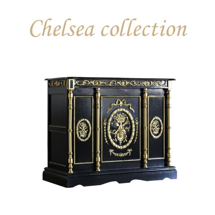 レジカウンター バーテーブル アンティーク 収納 受付カウンター 姫系 ロココ クラシック ブラック ゴールドレリーフ 幅120cm 5050-120-8g