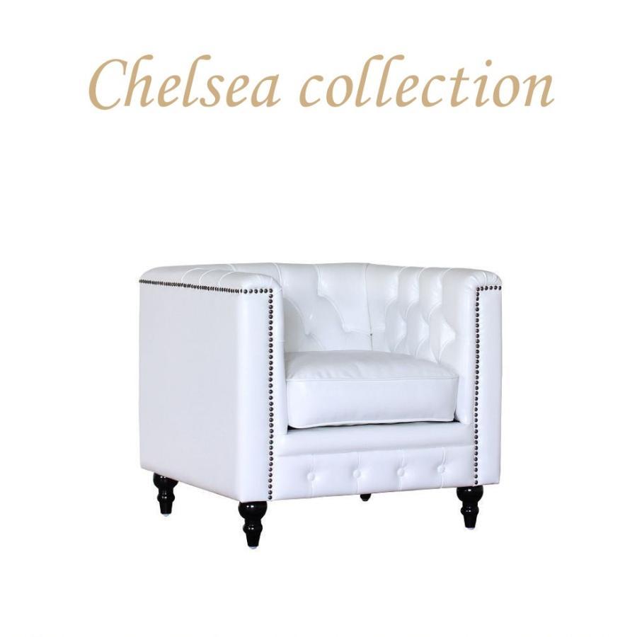 チェスターフィールド ソファ 1人掛け アンティーク 白 ホワイト PUレザー vm1p65k