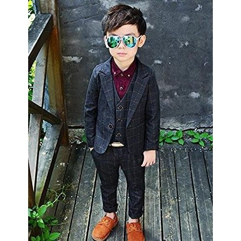 f3262d635b390 男の子 チェック柄 かっこいい フォーマル スーツ 3点セット ...