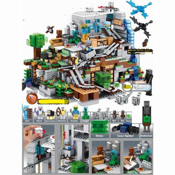 山の洞窟 The 買い物 Mountain 贈答品 Cave 大人気ミニフィグ ブロック レゴ 互換 豪華セット マインクラフト