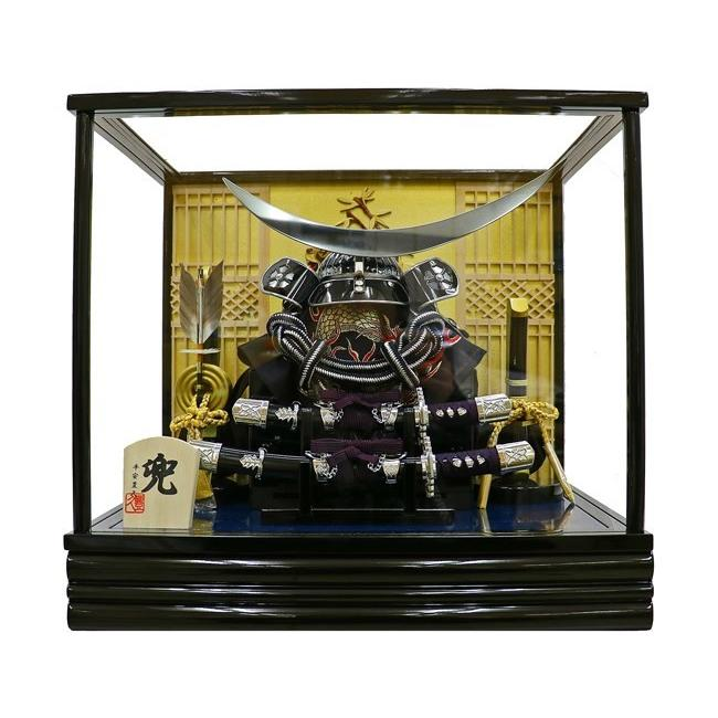 五月人形 コンパクト 兜ケース飾り 10号 平安豊久 寄木彫刻 伊達 端午の節句