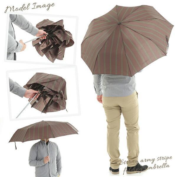 傘 Waterfront ストロングアーミーストライプ折りたたみ傘 男性 雨傘 全3色 親骨65cm STAST-3F65-UH-1T【店長おすすめ】|chicclover|06