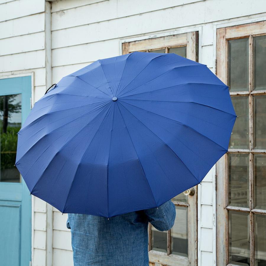 2020年新作 傘 メンズ ウォーターフロント Waterfront 16本骨折りたたみ傘 16RIB Folding Umbrella 男性 学生 晴雨兼用傘 雨傘 日傘 全2色|chicclover|11