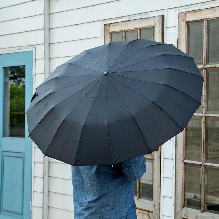 2020年新作 傘 メンズ ウォーターフロント Waterfront 16本骨折りたたみ傘 16RIB Folding Umbrella 男性 学生 晴雨兼用傘 雨傘 日傘 全2色|chicclover|10
