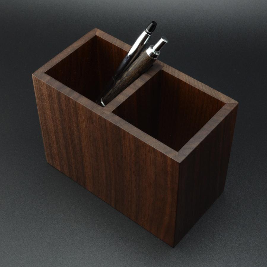 ペンスタンド  ブラックウォールナット スクエア ダブル ペン立て 木製 ウォルナット シンプル おしゃれ 雑貨 高品質 上質 ギフト プレゼント 贈り物 社内 上司|chisui|02