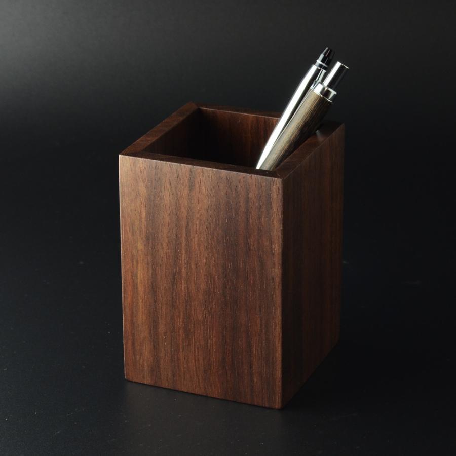 ペンスタンド ブラックウォールナット スクエア シングル ペン立て 木製 ウォルナット シンプル おしゃれ 雑貨 高品質 上質 ギフト プレゼント 贈り物 社内 上司|chisui|02
