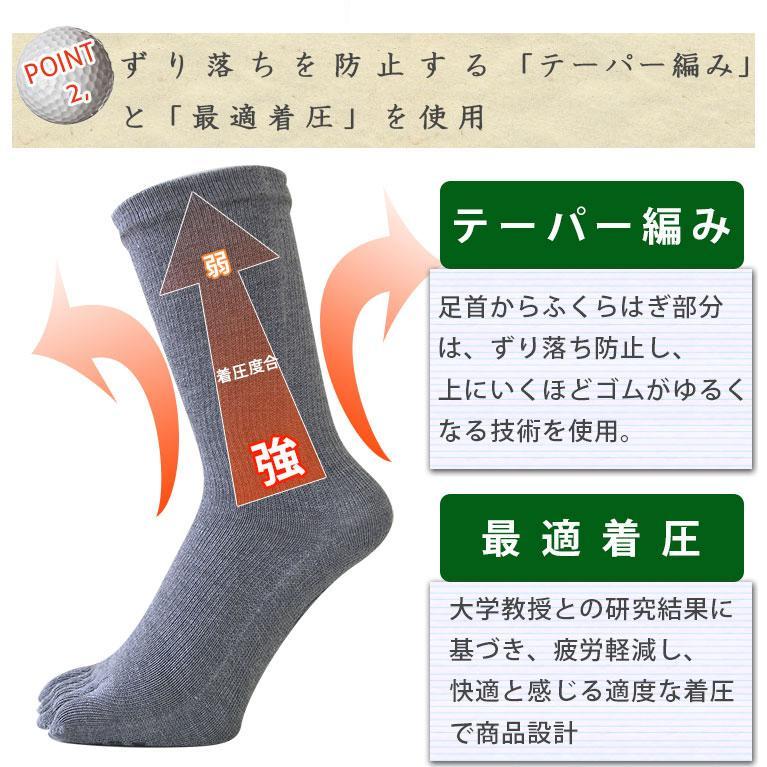 【ガッツマン】ゴルフのための滑らない五本指ソックス(VAMONOS) 踏ん張れる ぶれない スイング安定|chokucobin|10
