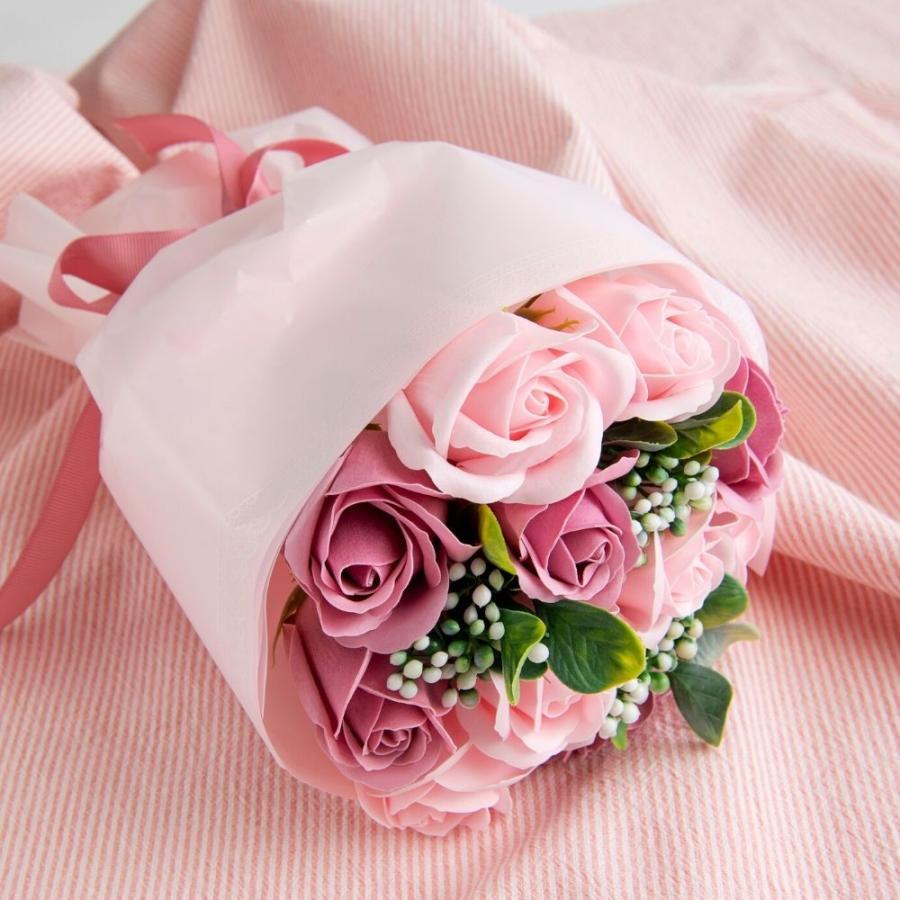 母の日 ギフト 2021 花 花束 ブーケ プレゼント 誕生日 ソープフラワー シャボンフラワー ブーケ(バラ11輪入り)ソープフラワーブーケ chouchoucrepe-gift 03
