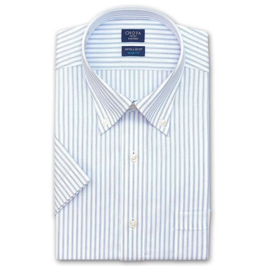 ワイシャツ メンズ 半袖 CHOYA SHIRT 大注目 FACTORY スリムフィット 即納 形態安定加工 2106ft ボタンダウン 2106scs ブルーストライプ