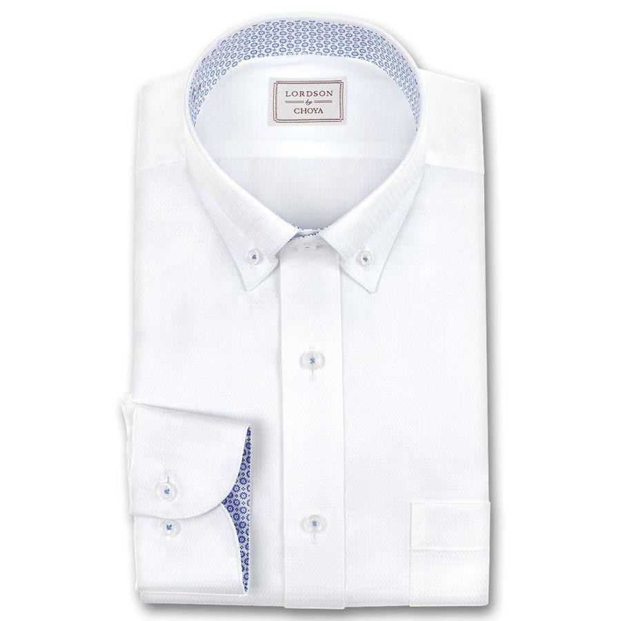 ワイシャツ Yシャツ 長袖 LORDSON by CHOYA 形態安定加工 デポー 吸水速乾 セール品 ペイズリードビー 白 ショートボタンダウン 2106scs 就活 冠婚葬祭 ホワイト