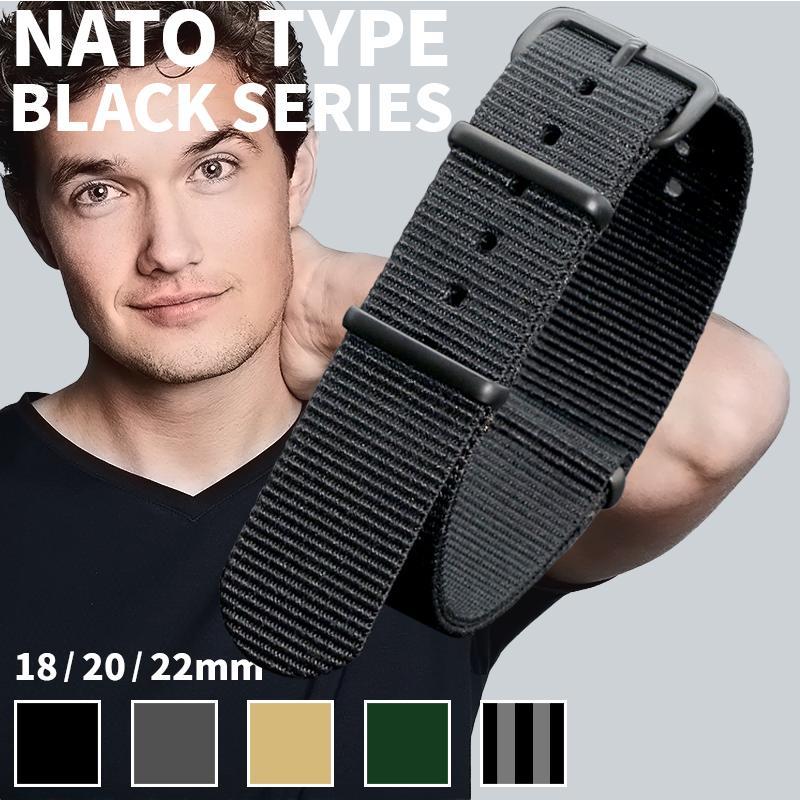時計 ベルト バンド ブラックシリーズ クロノワールドNATOタイプ ナイロンストラップ 18mm 倉 チープ 20mm 22mm